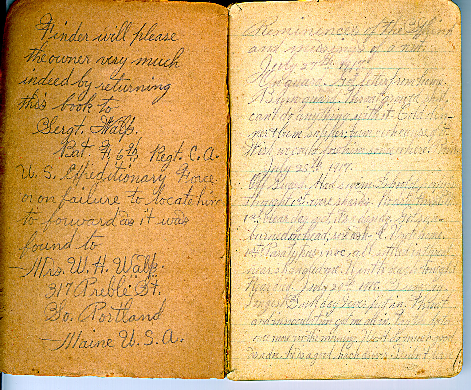 diary cover pages grandpa walps wwi diary